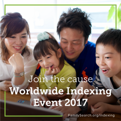 The FamilySearch Worldwide Indexing Event 2017 engages online volunteers to help make the world's historic genealogical records freely and easily accessible online.
