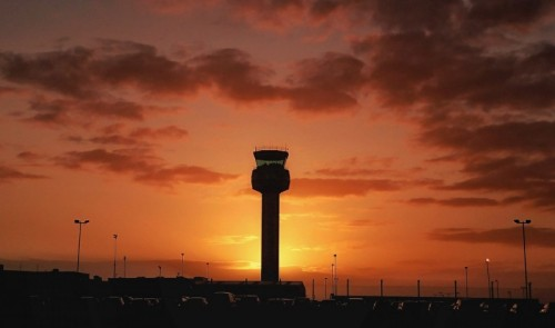 East Midlands Airport at dusk