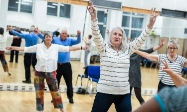 Elderly people dance exercising