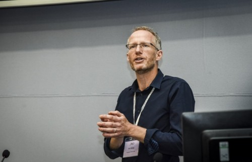 Professor Sam Hickey giving a speech