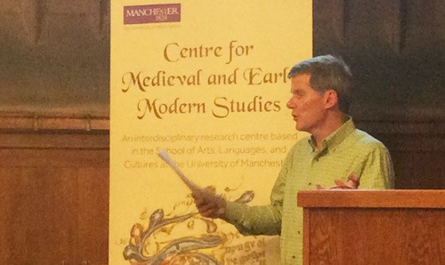 Garrett Sullivan (Penn State) speaking on Spenser's Faerie Queene at the inauguration of the Centre for Medieval and Early Modern Studies