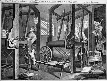 Black and white engraving showing two children apprentices working at looms