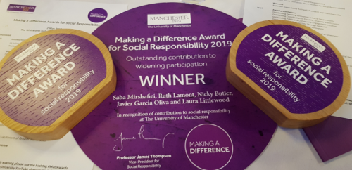 Image of the two awards received by Saba Mirshafiei for the Pathways to Law Scheme, in the category 'Outstanding contribution to Widening Participation'.