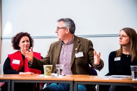 Gareth Owen (OBE) and Nancy Claxton at HCRI's Annual Careers in Humanitarianism Day.