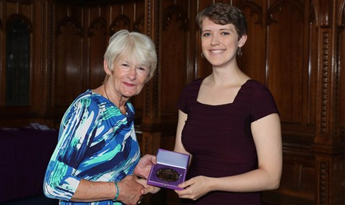 President and Vice Chancellor Dame Nancy Rothwell with music student Katherine Blumer.