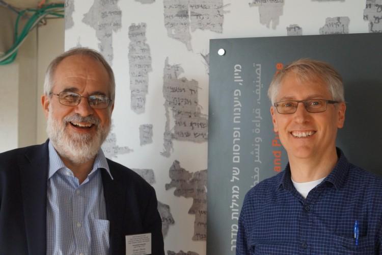Prof. Brooke with Prof Daniel Falk at the new IAA Dead Sea Scrolls Facility in Jerusalem in 2018