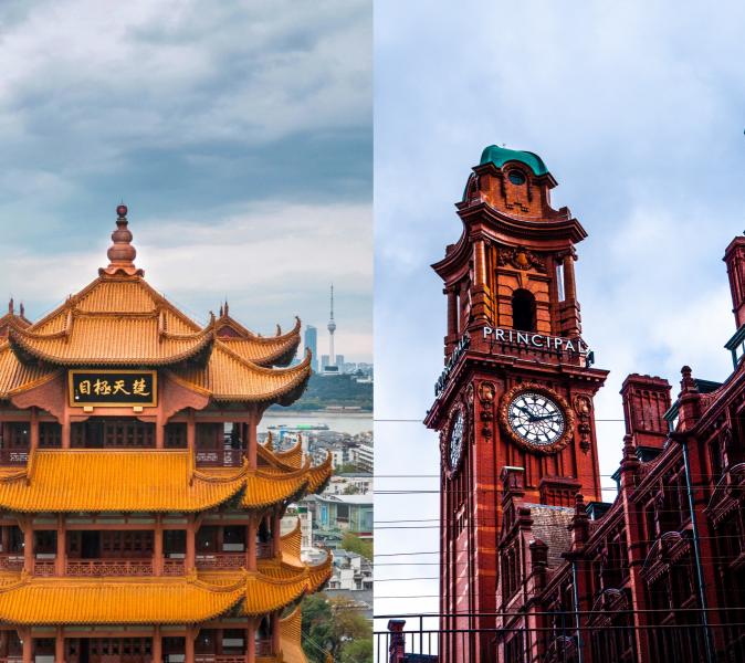 Images of Wuhan and Manchester buildings side by side