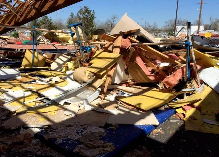 Remains of Aim High Academy's practice center following a tornado.