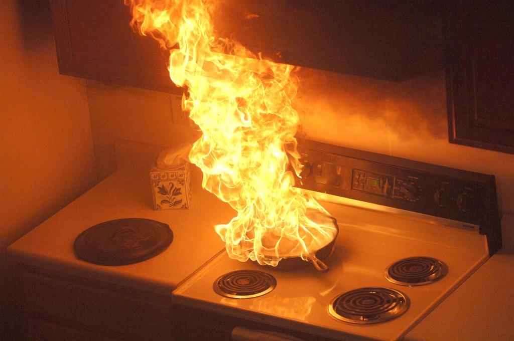Skillet on fire
