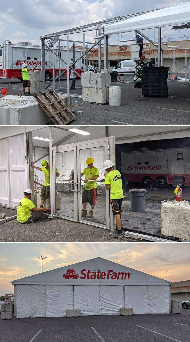 Construction of mobile claim tent