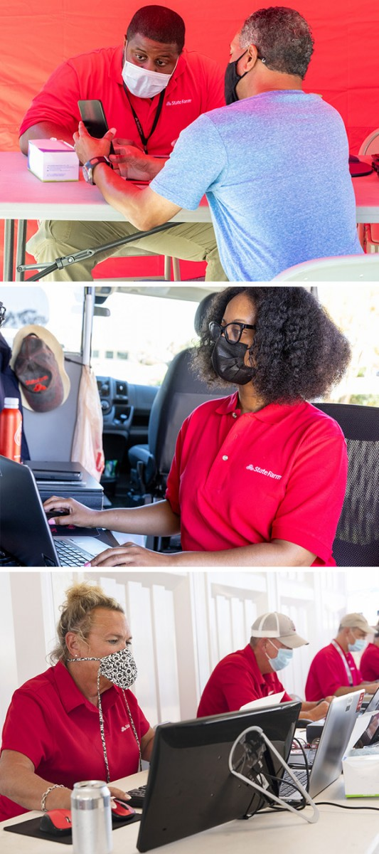 State Farm Claims specialists assisting customers at Louisiana Customer Care sites