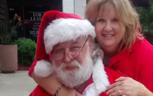 State Farm agent Linda Newel with Santa