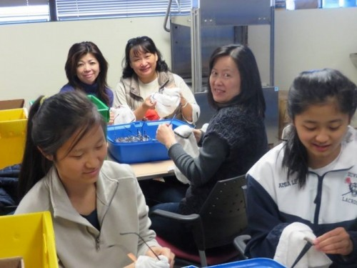 Chinese-American LEO Club cleans donated glasses at Lighthouse Foundation Headquarters