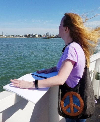 Mel Finefrock riding a ferry