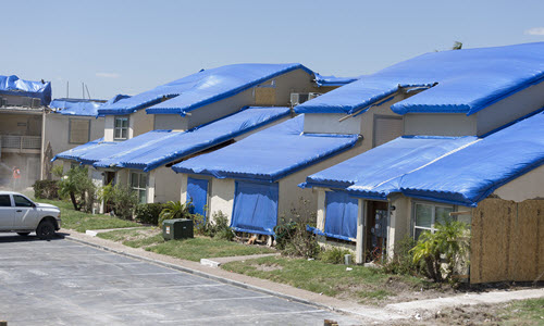 Tarps being used to protect property post-hurricane