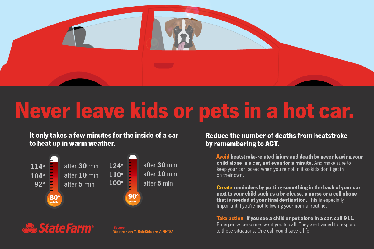 Never leave kids or pets in a hot car.