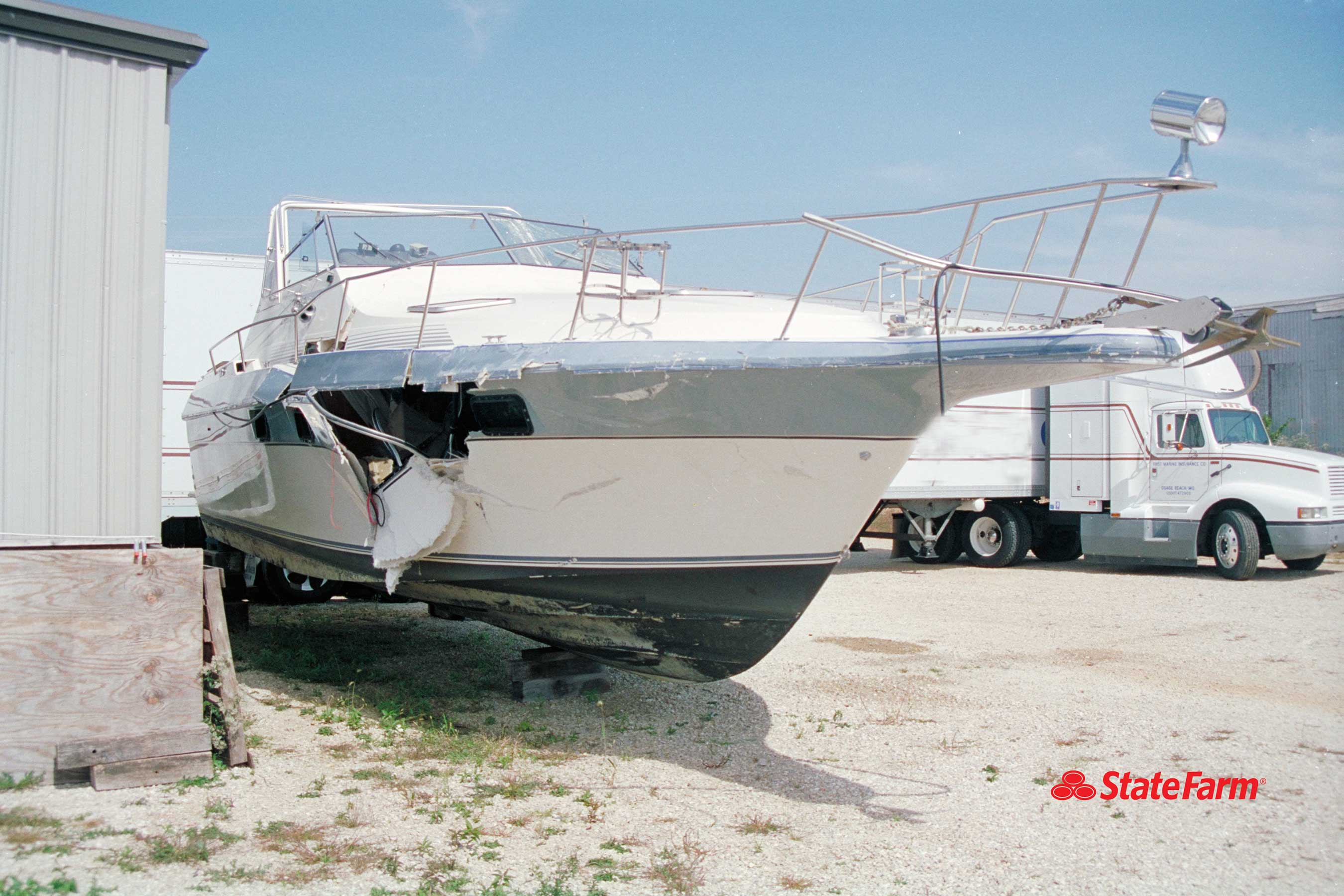 image of a severely damaged boat