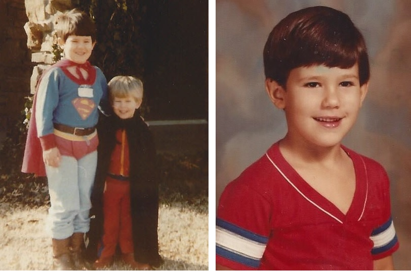 Left image: Jared dressed as a superhero, pictured with his brother Ben. Right image: Jared as a child.