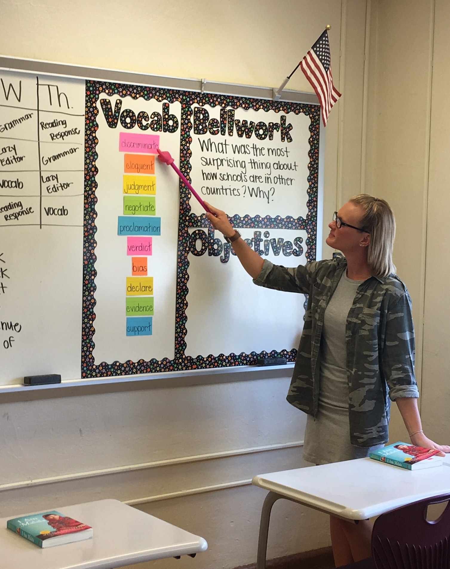 Eigth grade teacher Mackenzie Wilkins strives to teach her students the importance of a college education.