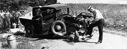 Antique automobile crash