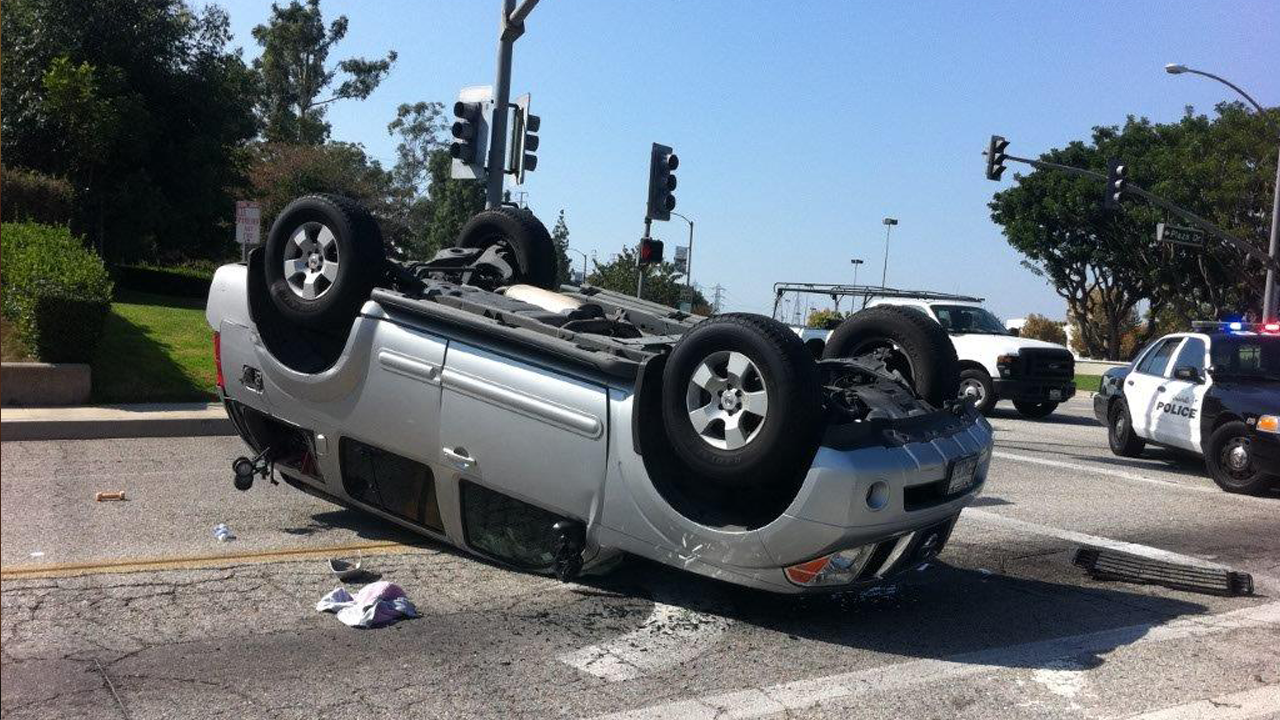 car upside down after a crash