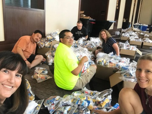 Stuffing snack bags for children