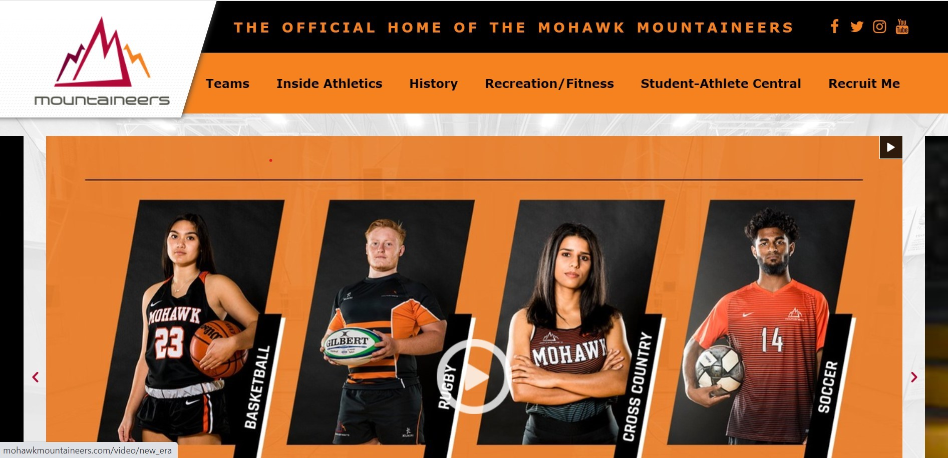 Mohawk Mountaineers website landing page