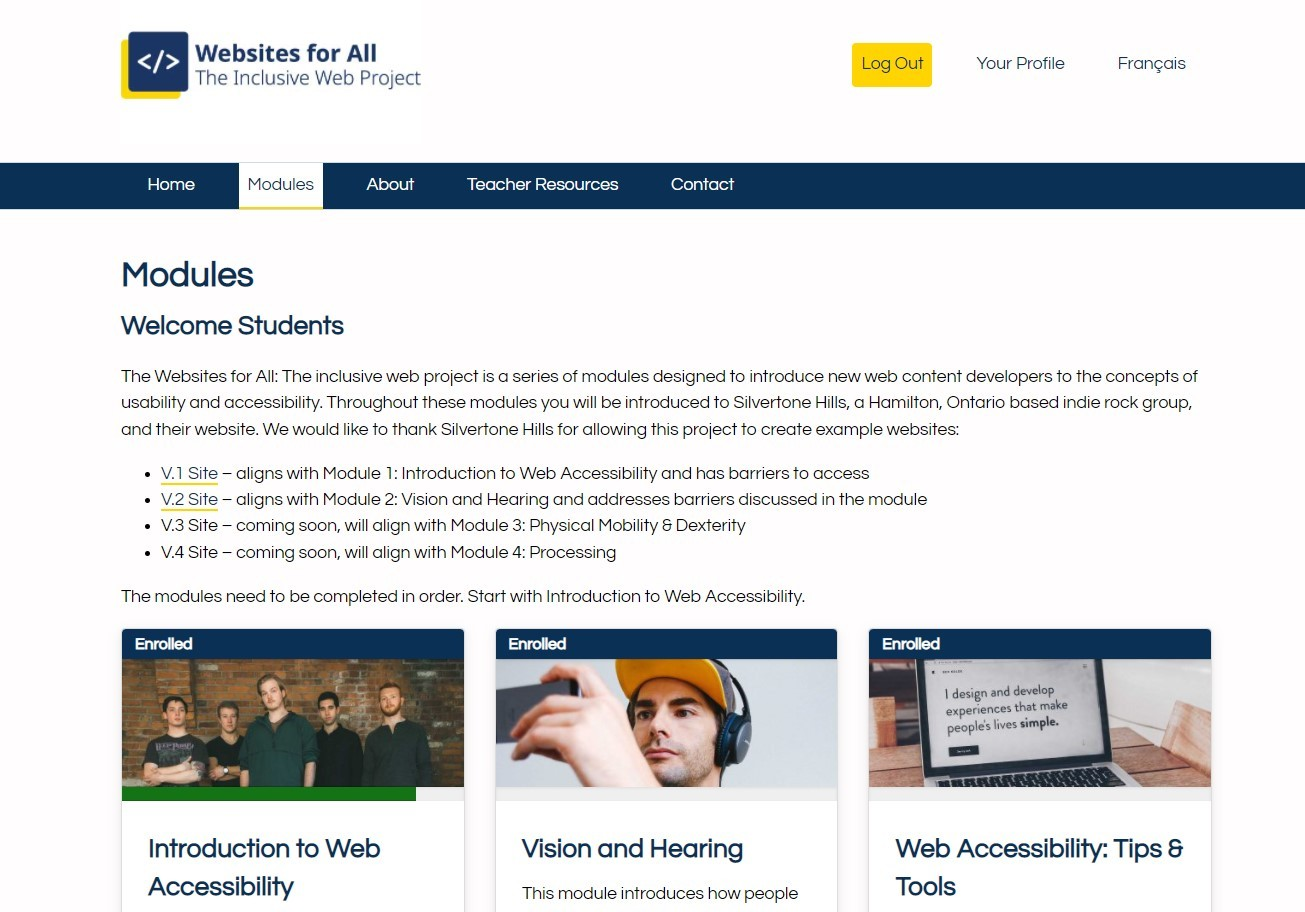screen capture of Websites for All webpage