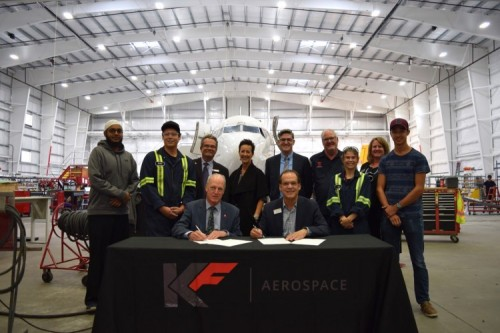 (L to R): (seated) Jim Hamilton, President of Okanagan College and David Santi, Dean of Engineering, Technology and Aviation, Mohawk College; (standing) OC AME-S students Raihan Ahmed and Nicholas Dechamps; Steve Moores, Dean of Trades and Apprenticeship, Okanagan College; Tracy Medve, President of KF Aerospace; Jeffrey McIsaac, Dean of Applied Research at Mohawk College; Dale Martell, Chair of the AME-S program at Okanagan College; Tracy Dallaire, Senior Director of Technology Integration Academic, Engineering Technology School at Mohawk College and OC AME-S students Ashlyn Burrow and Scott Dinelle.