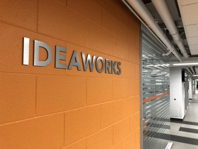 IDEAWORKS sign in college hallway