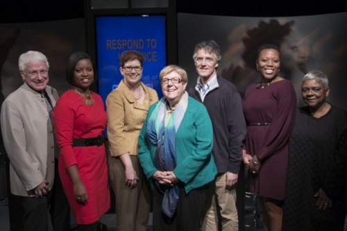 University leaders stand on the set of Respond to Violence with Thomas Dart and Nneka Jones Tapia