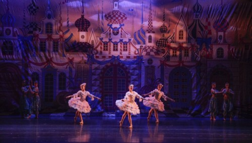 Ballerinas perform in costumes during The Nutcracker