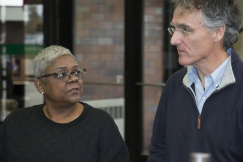 Yevette Brown greets Sheriff Tom Dart at GSU
