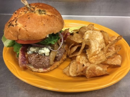 Recipes from Hershey Lodge: The Bears' Den Bacon Black & Blue Burger