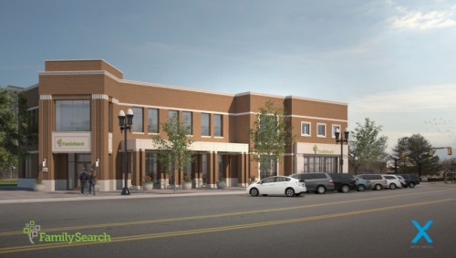 Artist's rendering of the Ogden, Utah, FamilySearch Center targeted for completion in 2019.