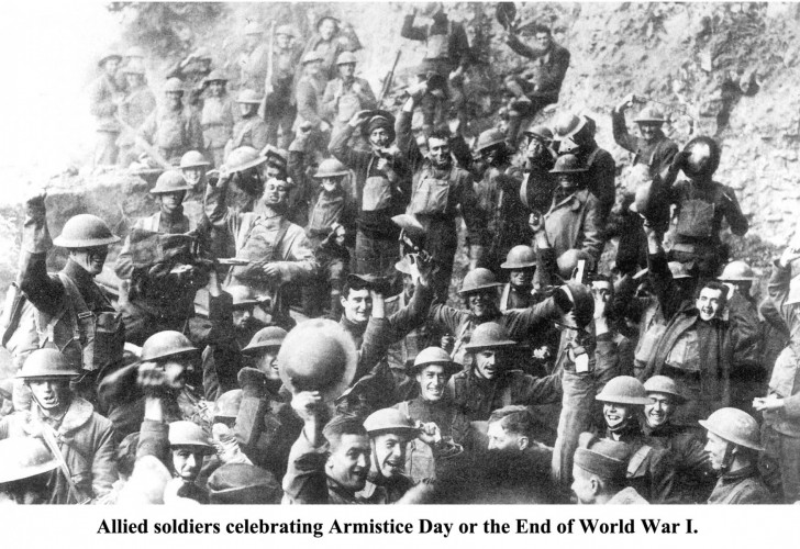 Allied soldiers celebrating Armistice Day or the official end of World War I