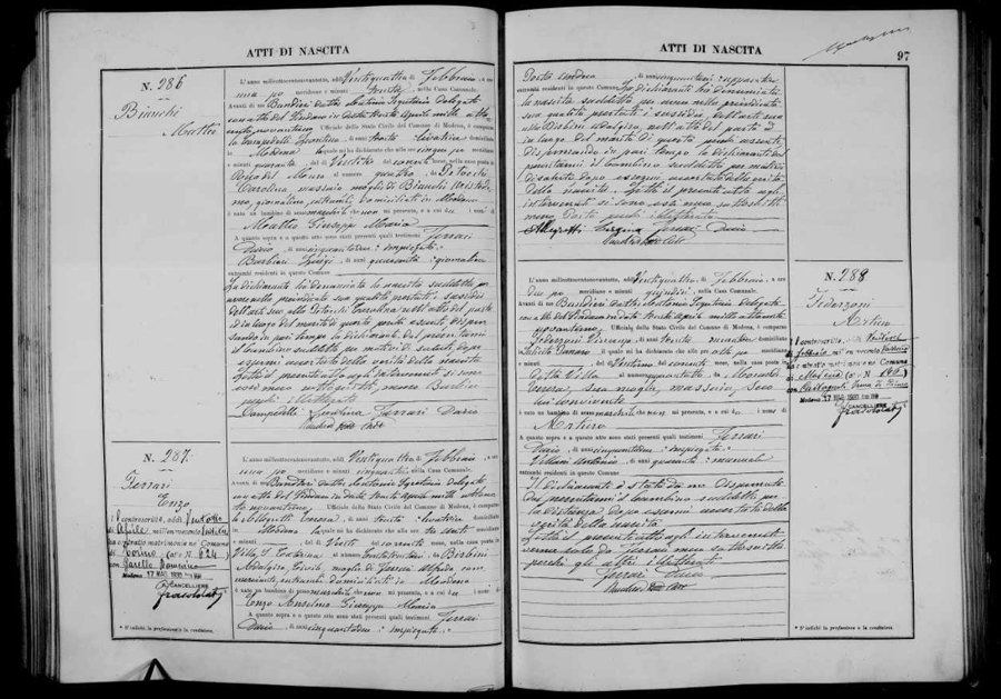 Enzo Ferrari's birth record from the Italy civil registration records found at FamilySearch.org.