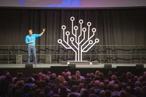 Dan Snow, British historian, addresses crowds as keynote at RootsTech London 2019.