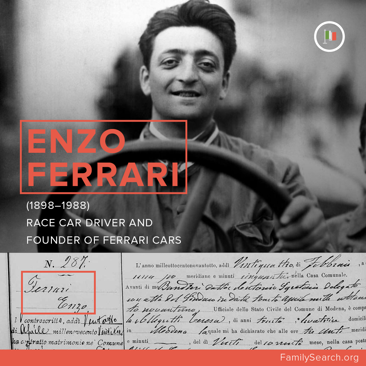Enzo Ferrari, founder of the Ferrari sports car.