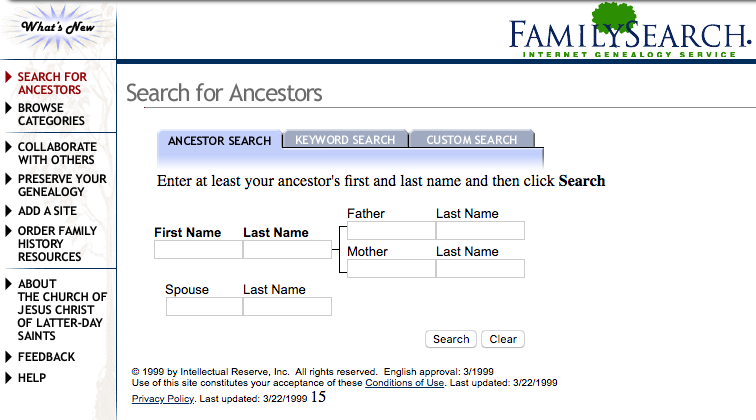 FamilySearch.org Homepage as it appeared in 1999 at the launch of the new internet genealogy service.