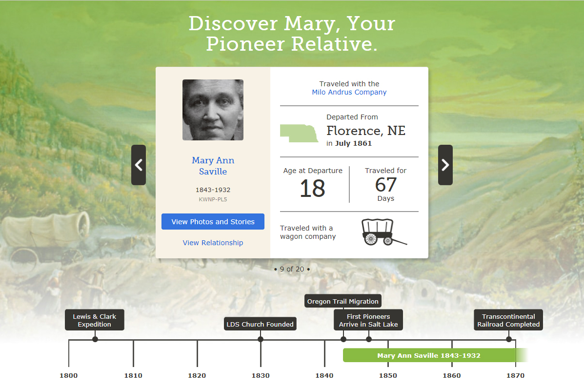 FamilySearch Pioneer Discovery Experience Introduction Page for Mary Saville