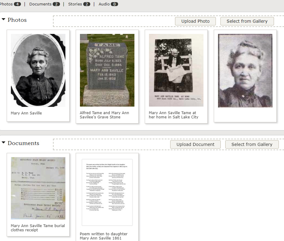 FamilySearch Pioneer Discovery Experience Photos and Document Example