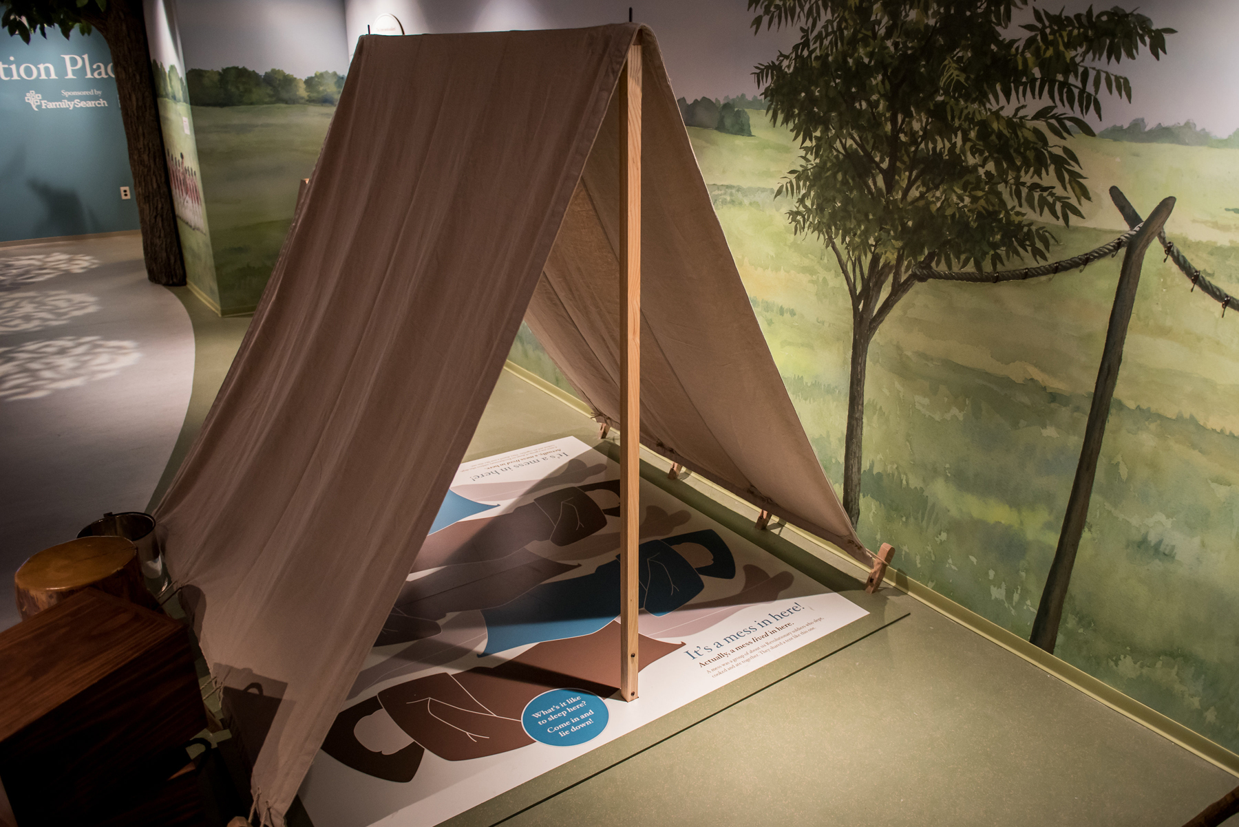 Interactive military encampment at Museum of American Revolution.