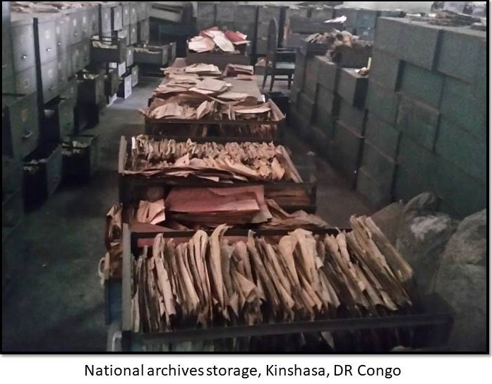 Photo of historical genealogy records in the National Archives of the DR Congo in Kinshasa.