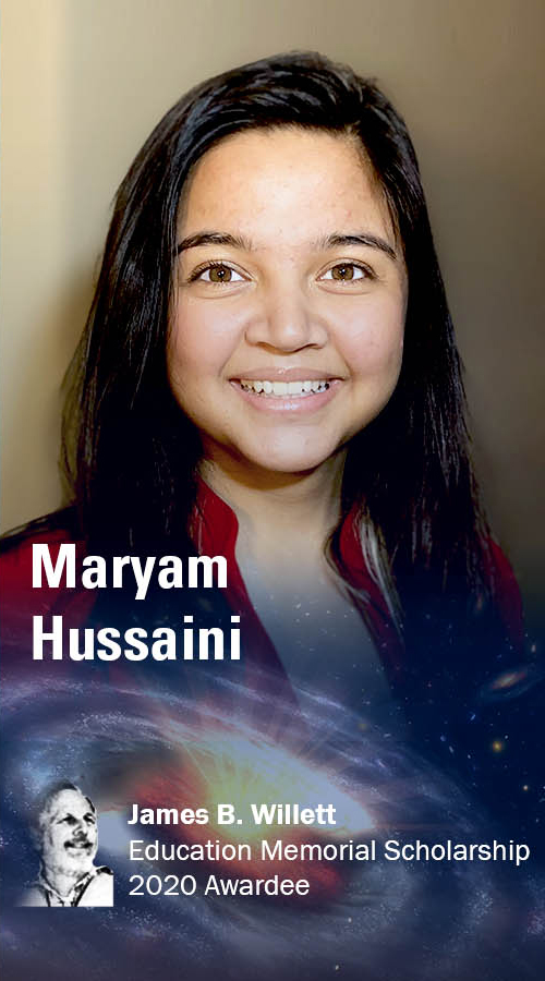 Maryam Hussaini, 2020 James B Willett Education Memorial Scholarship awardee