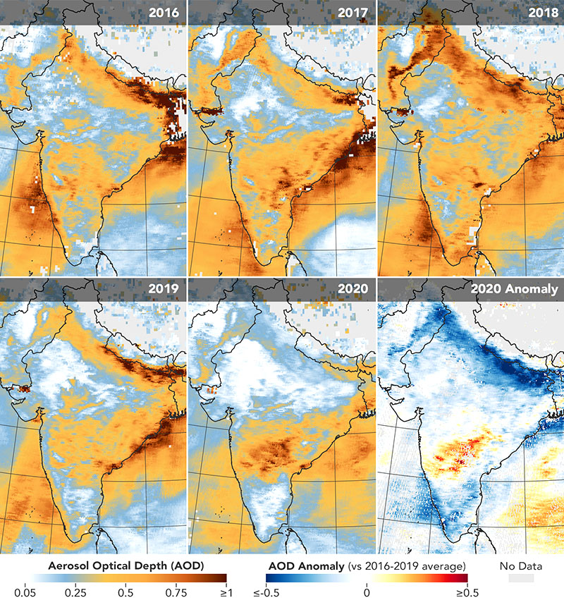 The first five maps above show aerosol optical depth (AOD) measurements over India during the same March 31 to April 5 period for each year from 2016 through 2020. The sixth map (anomaly) shows how AOD in 2020 compared to the average for 2016-2019.