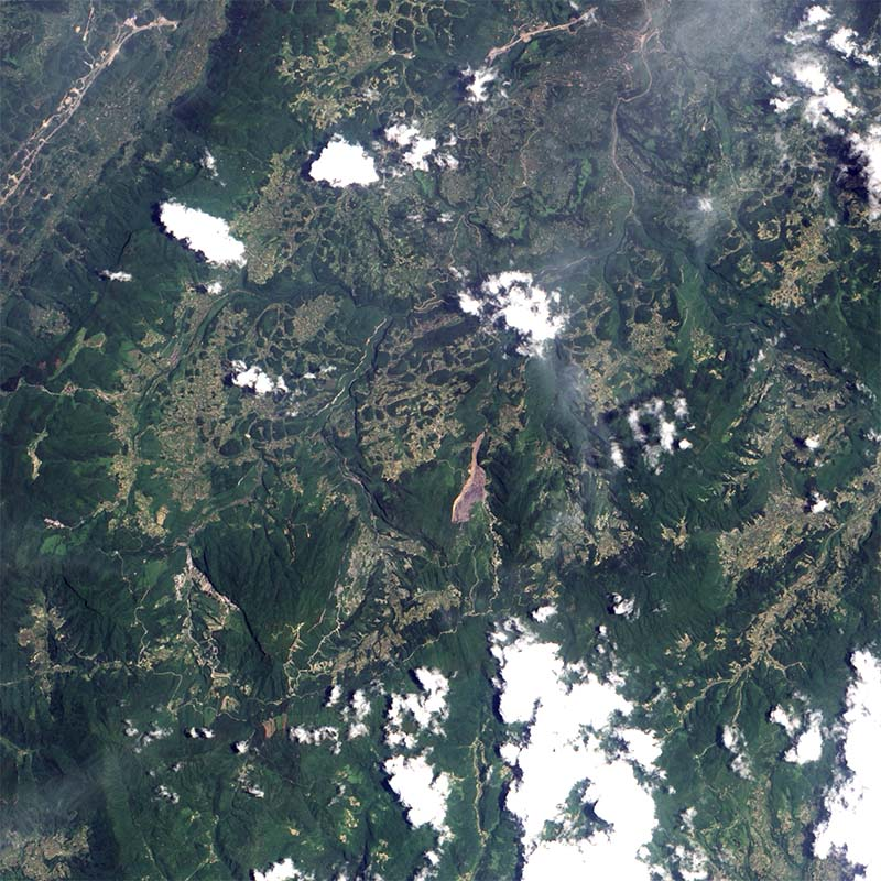 On June 5, 2009, a mountainside collapsed in the Chingqing region of southern China, burying dozens of people. The landslide remained visible in satellite imagery nearly two weeks later. Credit: NASA image created by Jesse Allen, using EO-1 ALI data provided courtesy of the NASA EO-1 Team. Caption by Michon Scott.