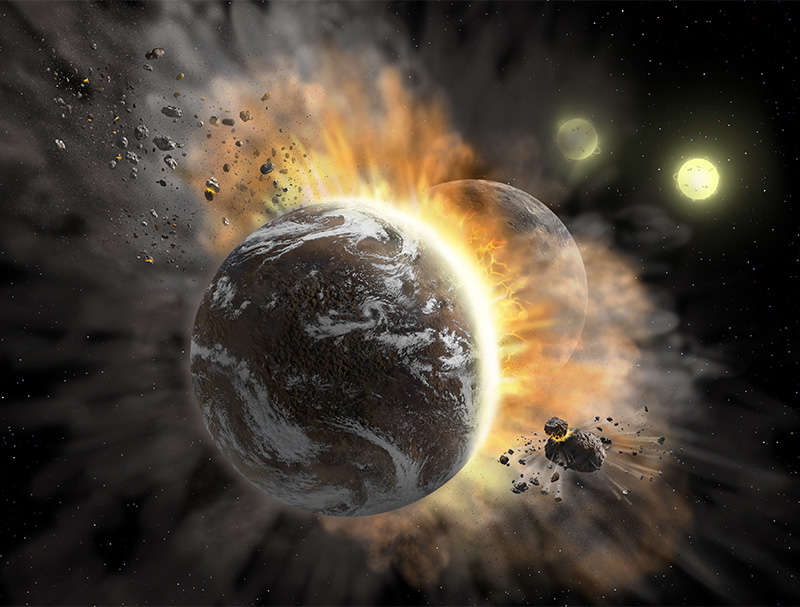 Artist's concept illustrating a catastrophic collision between two rocky exoplanets in the planetary system BD +20 307, turning both into dusty debris. Ten years ago, scientists speculated that the warm dust in this system was a result of a planet-to-planet collision. Now, SOFIA found even more warm dust, further supporting that two rocky exoplanets collided. This helps build a more complete picture of our own solar system's history. Such a collision could be similar to the type of catastrophic event that ultimately created our Moon. Credits: NASA/SOFIA/Lynette Cook