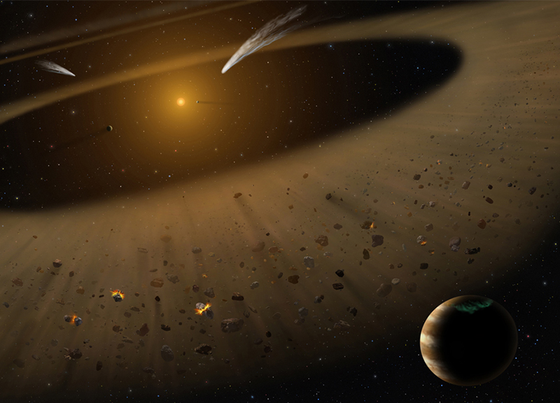 Artist's illustration of the Epsilon Eridani system showing Epsilon Eridani b. In the right foreground, a Jupiter-mass planet is shown orbiting its parent star at the outside edge of an asteroid belt. In the background can be seen another narrow asteroid or comet belt plus an outermost belt similar in size to our solar system's Kuiper Belt. The similarity of the structure of the Epsilon Eridani system to our solar system is remarkable, although Epsilon Eridani is much younger than our sun. SOFIA observations confirmed the existence of the asteroid belt adjacent to the orbit of the Jovian planet. Image credit:NASA/SOFIA/Lynette Cook