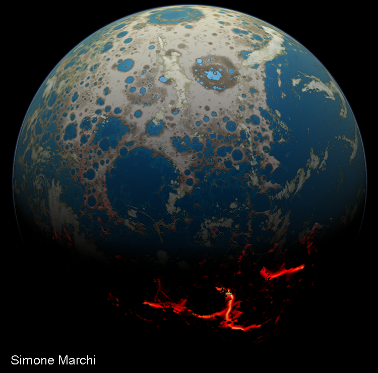 Illustration 2. An artistic rendering of the Hadean Earth when the rock fragment was formed. Impact craters, some flooded by shallow seas, cover large swaths of the Earth's surface. The excavation of those craters ejected rocky debris, some of which hit the Moon. Illustration credit: Simone Marchi.